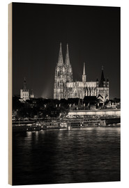 Wood print  Cologne Cathedral at night - rclassen