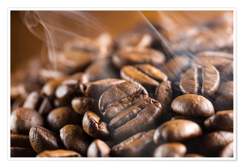 Premium poster fresh roasted coffee beans