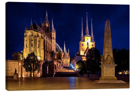Canvas  Cathedral of Erfurt under the stars - pixelliebe