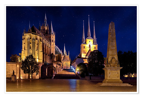 Premium poster Cathedral of Erfurt under the stars