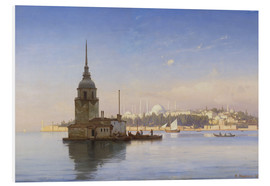 Foam board print  The Maiden's Tower (Maiden Tower) with Istanbul in the background - Carl Neumann