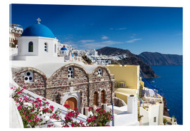 Acrylic glass  Blue dome of a church in Oia, Santorini - Circumnavigation