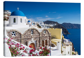 Canvas  Blue dome of a church in Oia, Santorini - Circumnavigation