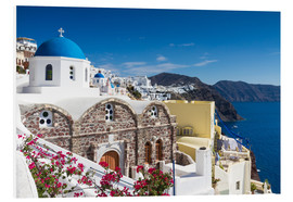 Foam board print  Blue dome of a church in Oia, Santorini - Circumnavigation