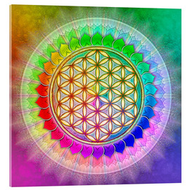 Acrylic glass  Flower of Life - Rainbow Lotus Artwork II - Dirk Czarnota