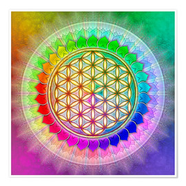 Premium poster Flower of life - rainbow lotus artwork II