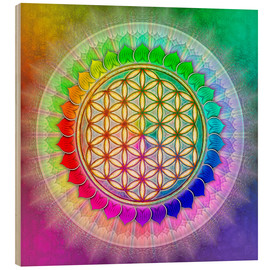 Wood print  Flower of life - rainbow lotus artwork II - Dirk Czarnota