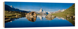 Wood print  Swiss mountains with the Matterhorn and Stellisee - Jan Christopher Becke