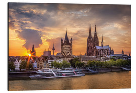 Aluminium print  Cologne Cathedral and Great St Martin - Jens Korte