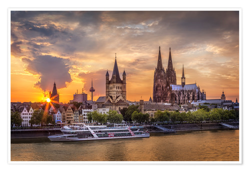 Premium poster Cologne Cathedral and Great St Martin
