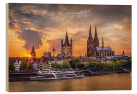 Wood print  Cologne Cathedral and Great St Martin - Jens Korte