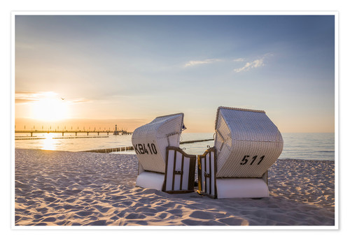 Premium poster Beach chairs, Baltic Sea