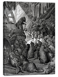 Canvas print  The council of the rats - Gustave Doré