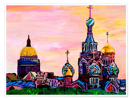 Premium poster  Saint Petersburg with golden couples - M. Bleichner