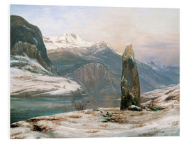 Foam board print  winter at the sognefjord - Johan Christian Clausen Dahl