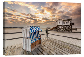 Canvas print  In the morning the North Sea beach of Sankt Peter Ording - Dennis Stracke