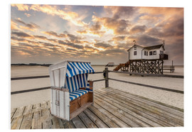 Foam board print  In the morning the North Sea beach of Sankt Peter Ording - Dennis Stracke