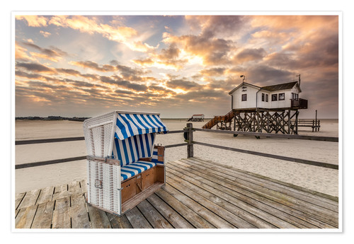 Premium poster In the morning the North Sea beach of Sankt Peter Ording
