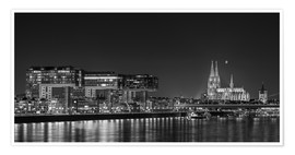 Premium poster  Cologne night Skyline black / white - rclassen