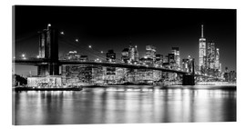 Acrylic glass  New York City Skyline with Brooklyn Bridge (monochrome) - Sascha Kilmer