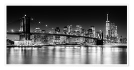 Premium poster New York City Skyline with Brooklyn Bridge (monochrome)
