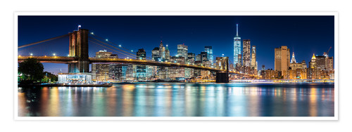 Premium poster New York City Skyline with Brooklyn Bridge (panoramic view)