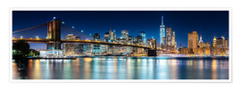 Premium poster  New York City Skyline with Brooklyn Bridge (panoramic view) - Sascha Kilmer