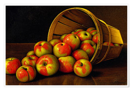 Poster Still life with overturned basket with apples
