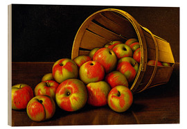 Wood print  Still life with overturned basket with apples - Levi Wells Prentice