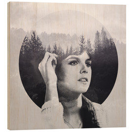 Wood print  she's hearing voices - Peg Essert