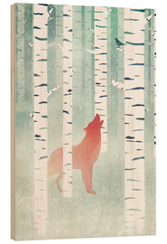 Wood print  winter fox - Sybille Sterk