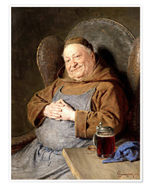 Premium poster Sitting monk with tankards