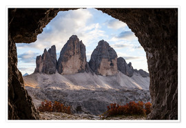 Premium poster Three peaks, Dolomites, South Tyrol