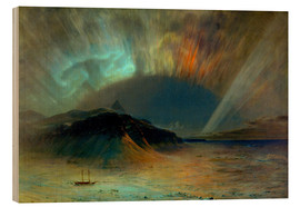 Wood print  Northern lights - Frederic Edwin Church