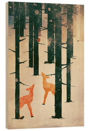 Wood print  Winter Deer - Sybille Sterk