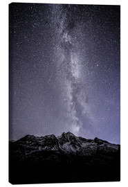 Canvas print  Stucklistock mountain peak at Susten pass with night sky, Uri, Switzerland - Peter Wey