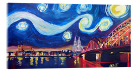 Acrylic glass  Starry Night in Cologne - Van Gogh inspirations on Rhine with Cathedral and Hohenzollern Bridge - M. Bleichner
