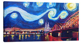 Canvas print  Starry Night in Cologne - Van Gogh inspirations on Rhine with Cathedral and Hohenzollern Bridge - M. Bleichner