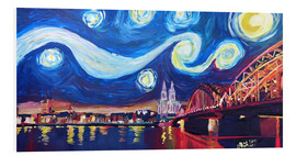 Foam board print  Starry Night in Cologne - Van Gogh inspirations on Rhine with Cathedral and Hohenzollern Bridge - M. Bleichner