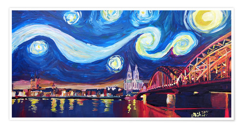 Premium poster Starry Night in Cologne - Van Gogh inspirations on Rhine with Cathedral and Hohenzollern Bridge
