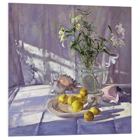 Foam board print  Still Life Flowers and Lemons - Timothy Easton