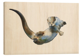 Wood print  Floating Otter - Mark Adlington