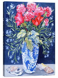 Canvas print  Roses, carnations and lobelia in a blue and white vase, 2011 - Joan Thewsey