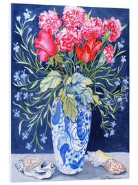Forex  Roses, Carnations and Lobelia in a Blue and White Vase,3 Shells Textiles 2011 - Joan Thewsey
