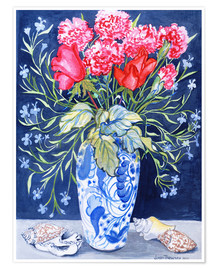 Premium poster  Roses, carnations and lobelia in a blue and white vase, 2011 - Joan Thewsey