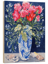 Wood print  Roses, carnations and lobelia in a blue and white vase, 2011 - Joan Thewsey