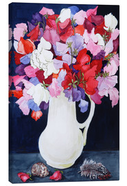 Canvas print  Flowers with feather and shell, 2011 - Joan Thewsey