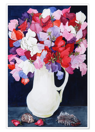 Premium poster  Flowers with feather and shell, 2011 - Joan Thewsey