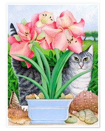 Premium poster Cat among the flowers