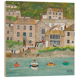 Wood print  The wharf in Mousehole - Judy Joel